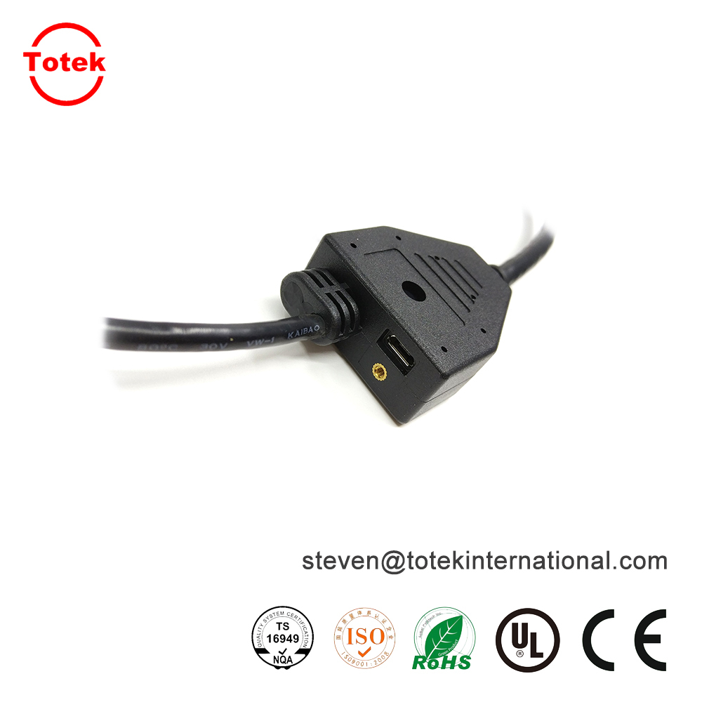 custom waterproof IP67 1 to 3 over-molded with RF jack Multifunction wire cable splitter2.jpg