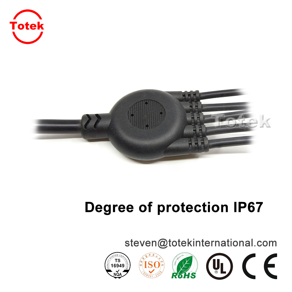 custom waterproof IP67 1 to 3 over-molded with RF jack Multifunction wire cable splitter4.jpg