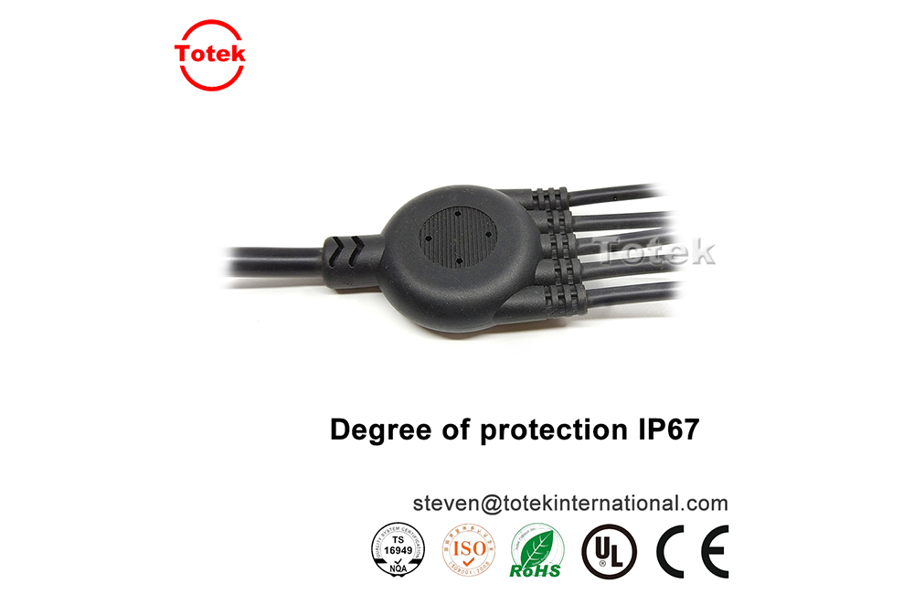 custom waterproof IP67 1 to 5 over-molded Y connector wire cable splitter