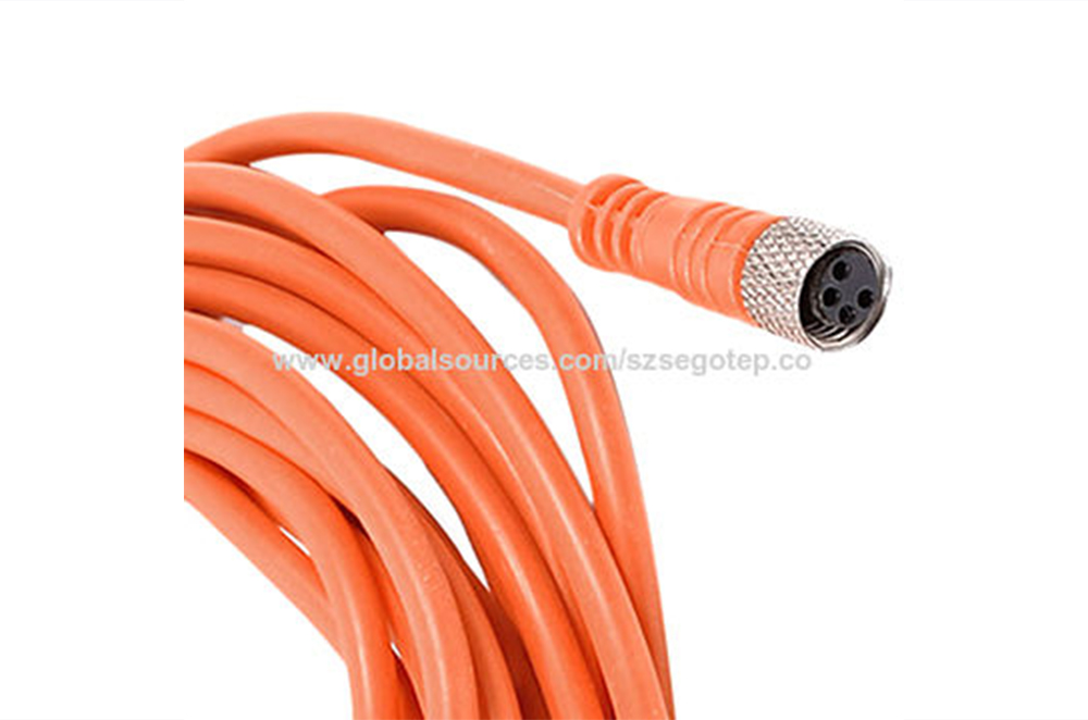 M8 4 Pin Female Straight Connector Aviation Socket with Yellow Cable