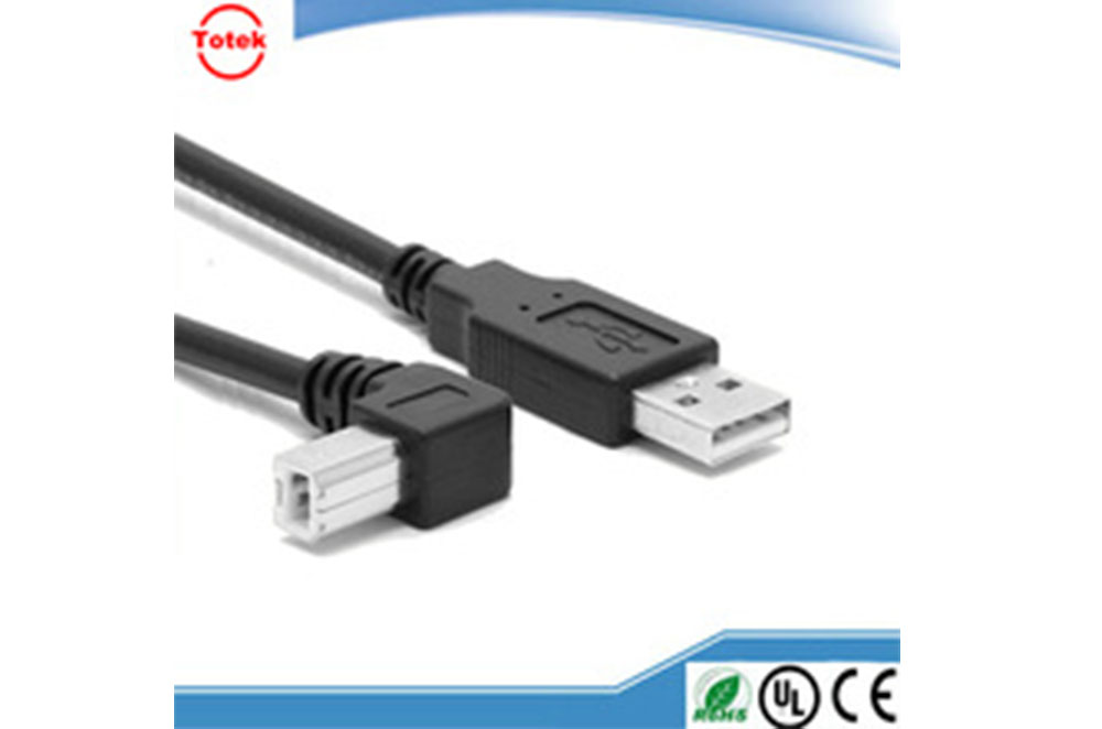 USB A male to type B male USB cable 90 degree right angle usb