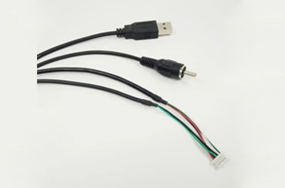 3FT JST pitch 1.0mm 6Pin housing to USB A male and RCA cable assembly